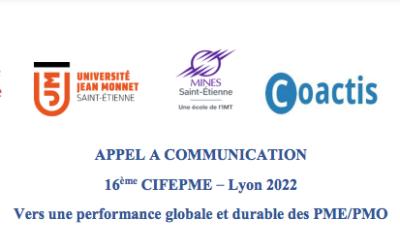 16ème CIFEPME – Lyon 2022 : Appel à communication